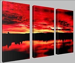 Canvas Print Wall Art Deep Red Kitchen Home