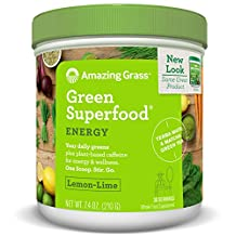 Amazing Grass Energy Green Superfood Lemon Lime Flavor, 7.4-Ounce Tub