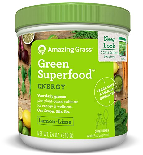 Amazing Grass Green Superfood, Energy Lemon Lime, Powder, 30 Servings, 7.4oz, Matcha Green Tea, Yerba Mate, Wheat Grass, Spirulina, Alfalfa, Acai, Greens, Vegan, Vitamin K, Probiotic
