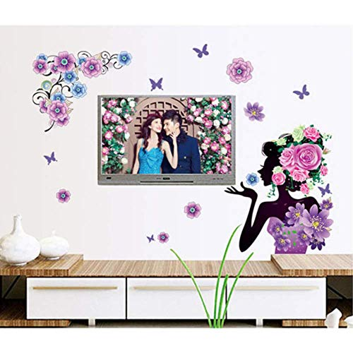 RONGAN Creative Home Decoration Romantic Living Room Bedroom Wall Stickers Decal Girls Flower Vine Pattern Mural 60X80cm (Best 80 Girl Vines)