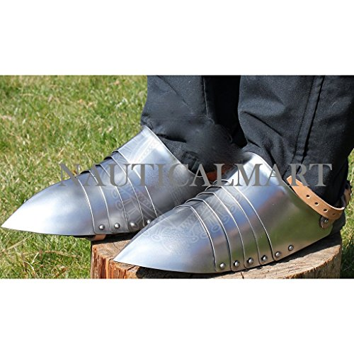 NAUTICALMART Medieval Steel Armor Shoes Sabaton With Open Heel by NAUTICALMART