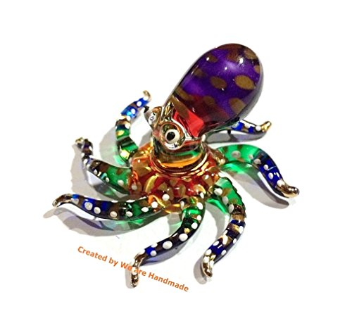 Handmade Mini Octopus Art Glass Blown Sea Animal Figurine - - Handmade Glass Blown