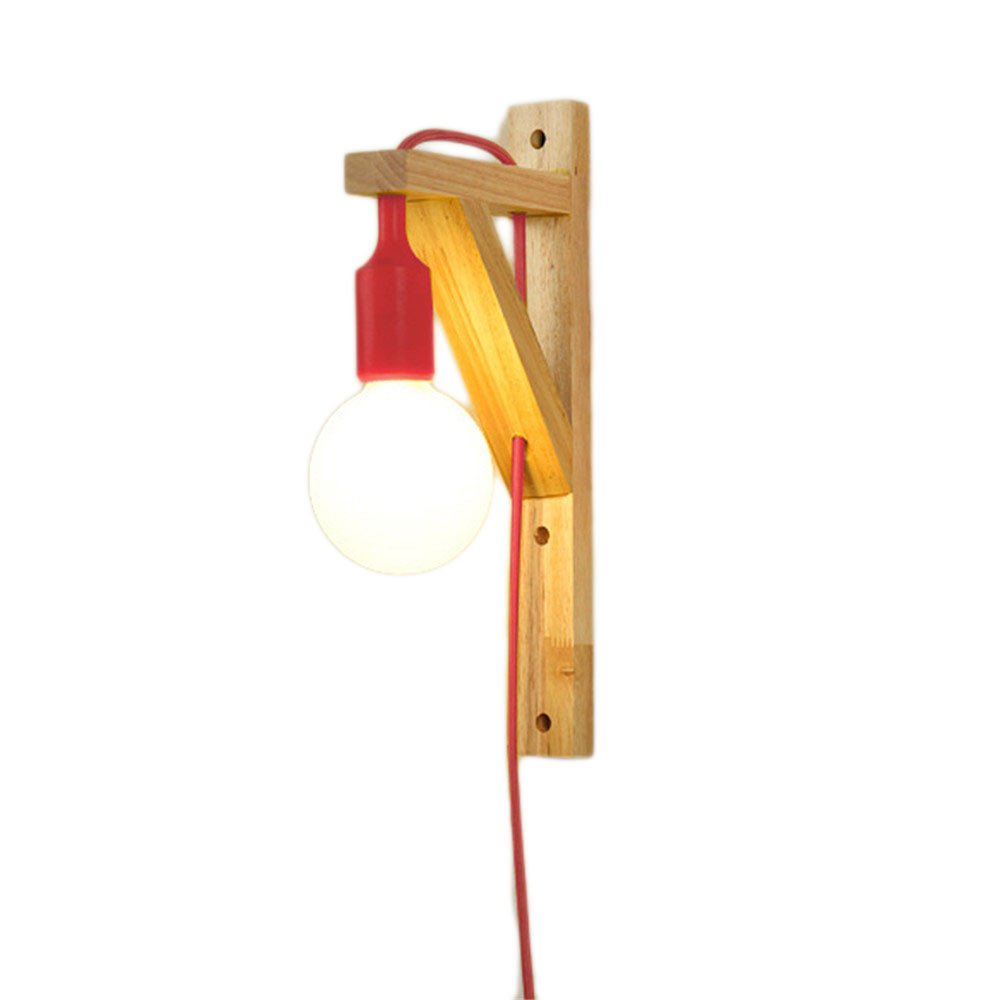 Wall Lamps,Log Solid Wood Bedroom Bedside lamp Aisle Staircase Nordic American Modern Minimalist with 6055 (A87F) red Bracket Light
