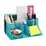CRUODA Mesh Desk Organizer Office Supplies Caddy Drawer, Pen Holder, File Holder, Blue