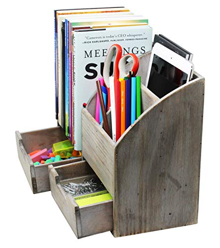 Vintage Rustic Wooden Office Desk Organizer & Book Shelf for Desktop, Tabletop, or Counter - Distressed Torched Wood – for Office Supplies, Desk Accessories, or Mail by Executive Office Solutions (Image #5)