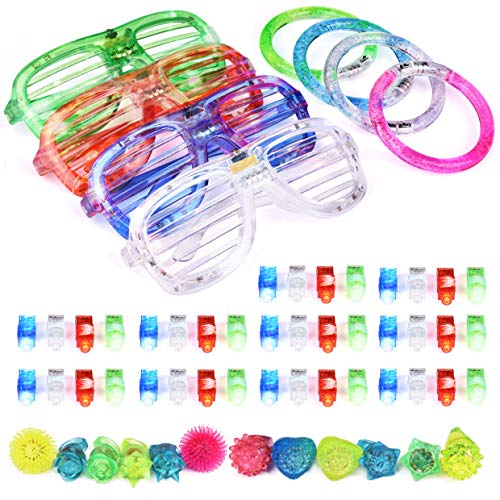 Halloween Party Dj Mix (60PCs LED Light Up Toys Glow in The Dark Party Supplies, Glow Stick Party Pack for Kids Party Favors Including 40 Finger Lights, 12 Flashing Bumpy Rings, 4 Bracelets and)