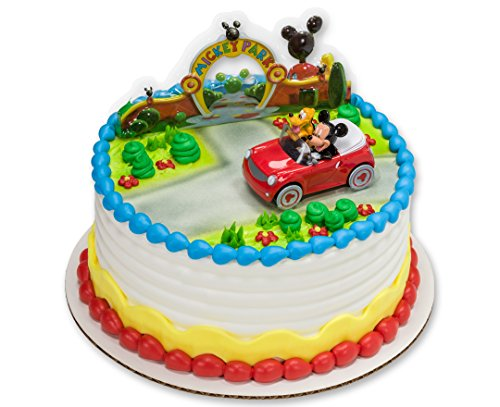Mickey Mouse And Pluto Car Decoset Cake Decoration