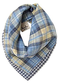 kishu baby Organic Bandana Drool Bib, Handmade In Usa From Premium Japanese Muslin, Luxuriously Soft, Madras Plaid Minicheck Reversible, Multicolor, One Size