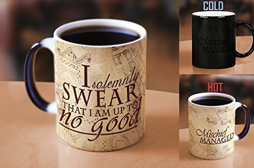 Morphing Mugs Harry Potter Hogwarts Magical Marauder's Map Heat Reveal Ceramic Coffee Mug - 11 Ounce (Parchment Paper Reveal) by Morphing Mugs (Image #1)