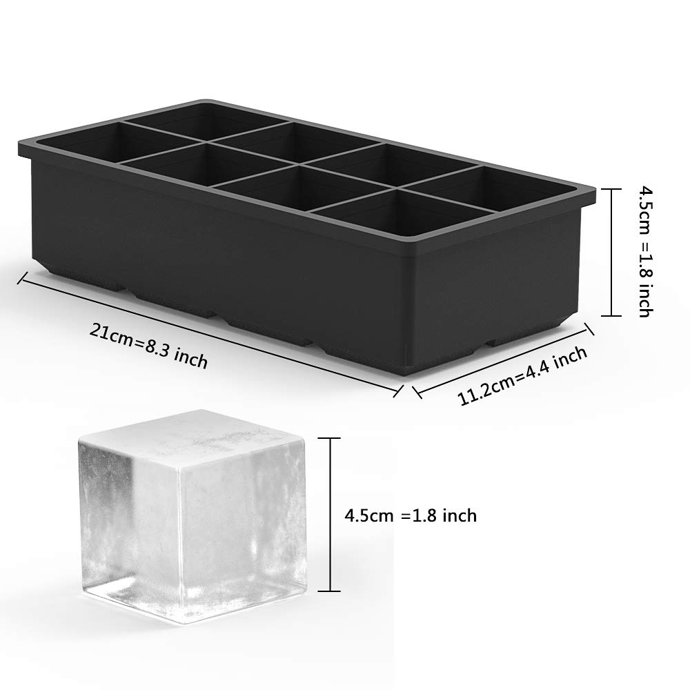 Tker Ice Cube Trays, Large Square Ice Cube Mold for Whiskey -8 Cavity Ice Molds for Your Drink, Reusable & BPA Free (2 Pack)