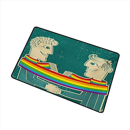 Becky W Carr Pride Welcome Door mat Happy Gay Couple Tied with Rainbow Colored Scarf Holding Hands Romantic Special Day Door mat is odorless and Durable W31.5 x L47.2 Inch,Multicolor