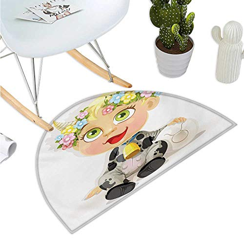 Zodiac Taurus Half Round Door mats Happy Baby with Little Horns and Flowers Cow Bell and Costume Kids Cartoon Entry Door Mat H 27.5