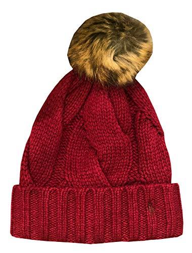 Polo Ralph Lauren Womens Cable Knit Pony Logo Fur Pom-Pom Beanie Hat Cap (One Size, Wine)