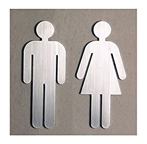 Toilet door sign man and women brushed stainless steel kitchen home for Stainless steel bathroom signs
