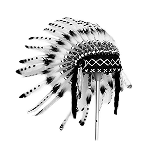 X08 Indian white and black Feather Headdress, Native American Style. Warbonnet -