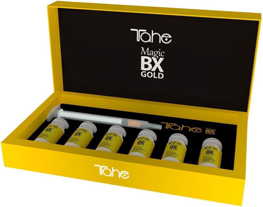 Tahe Magic Bx Gold Tratamiento Concentrado Capilar/Tratamiento Cabello Efecto Botox de Larga Duración con Oro Líquido y Ácido Salicílico. Brillo Infinito, Melena Densa y Suavidad Extrema, 6 x 10 ml