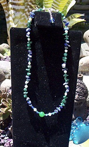 Blue Green and white Medium length Necklace