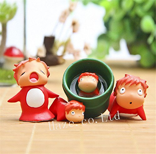 NEW 4pcs/Set Anime Gake No Ue No Ponyo Resin Figure Figurine