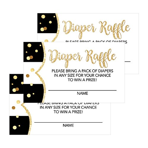 25 Black Diaper Raffle Ticket Lottery Insert Cards For Girl or Boy Baby Shower Invitations, Supplies and Games For Neutral Gender Reveal Party, Bring a Pack of Diapers to Win Favors, Gifts and Prizes ()