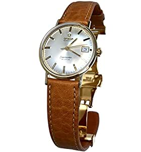 Vintage 1969 Omega Seamaster De Ville Watch with Brown Calf Leather Band