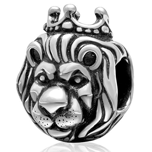 (SoulBeads Authentic 925 Sterling Silver King of Lion Charms Bead for European Bracelet)