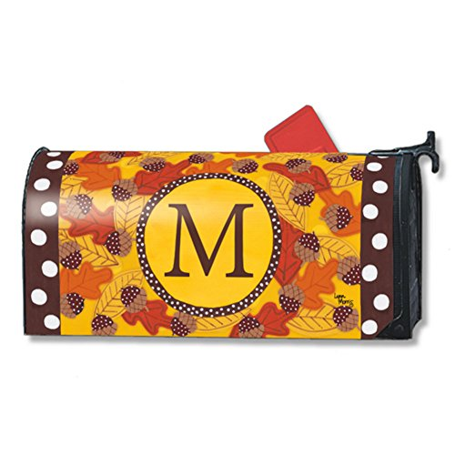 Fall Follies Monogram M Magnetic Mailbox Cover Autumn Leaves Acorns Letter M