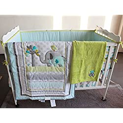 Blue Elephant 8pcs crib set Baby Bedding Set Crib Bedding Set Boy or girl - unisex Nursery Crib Bumper bedding with blanket