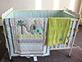 NAUGHTYBOSS Baby Bedding Set Cotton 3D Embroidery Elephant Bird Quilt Bumper Mattress Cover Blanket 8 Pieces Multicolor