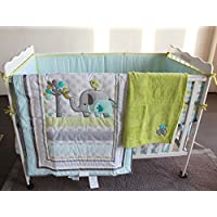 Blue Elephant 8pcs crib set Baby Bedding Set Crib Bedding Set Girl Boy Nurser...