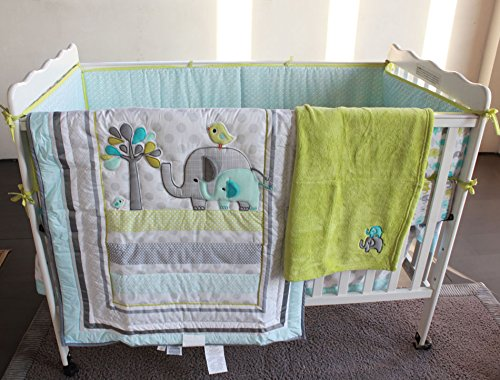 Blue Elephant 8pcs crib set Baby Bedding Set Crib Bedding Set Girl Boy Nursery Crib Bumper bedding with blanket Even Fish