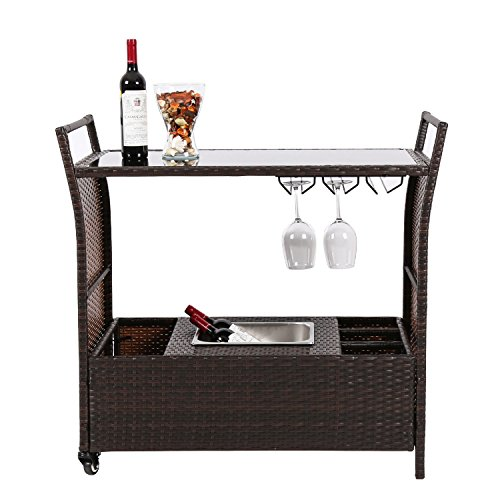 Peach Tree Outdoor Patio Wicker Serving Bar Cart Rolling Wheels,Kitchen Trolley Cart Dining Restaurant Service Cocktail, w/Shelves, Stainless Ice Bucket,Wine Rack
