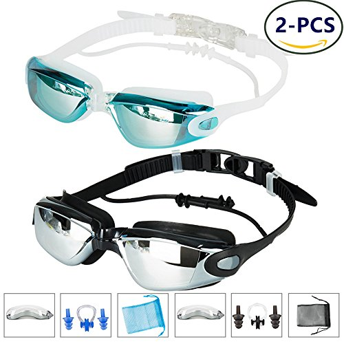 Swimming Goggles -Pack of 2 with Anti Fog Technology Best Prescription Swimming Goggle Protective Case + Nose Clip + Ear Plugs Exclusive - Goggles Prescription Swimming Best
