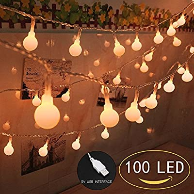 100 LED Globe String Lights, Ball Christmas Lights, Indoor / Outdoor Decorative Light, USB Powered, 39 Ft, Warm Yellow Light - for Patio Garden Party Xmas Tree Wedding Decoration (NO INCLUE USB PLUG)