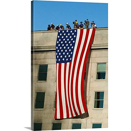 Gallery-Wrapped Canvas Entitled Fire and Rescue Workers unfurl a Huge American Flag Over The Side of The Pentagon by Stocktrek Images 20