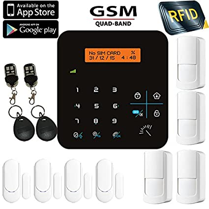 Security4U TL avanzado LCD Teclado táctil inalámbrico GSM RFID Autodial llamada texto SMS APP hogar casa