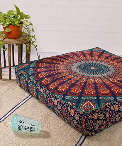 "Popular Handicrafts Indian Hippie Mandala Floor Pillow Cover Square Ottoman Pouf Cover Daybed Oversized Cotton Cushion Cover with Heavy Duty Zipper Seating Ottoman Poufs Dog-Pets Bed 35"" Multicolor"