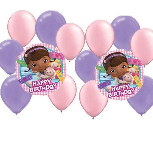 14 pc Doc Mc Stuffins Party Balloons Kit: 2 Mylar 6 Pink Latex 6 Purple Latex -