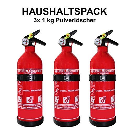 3x Feuerlöscher für das Auto ninux ABC Pulverlöscher 1 kg mit Halterung und Manometer