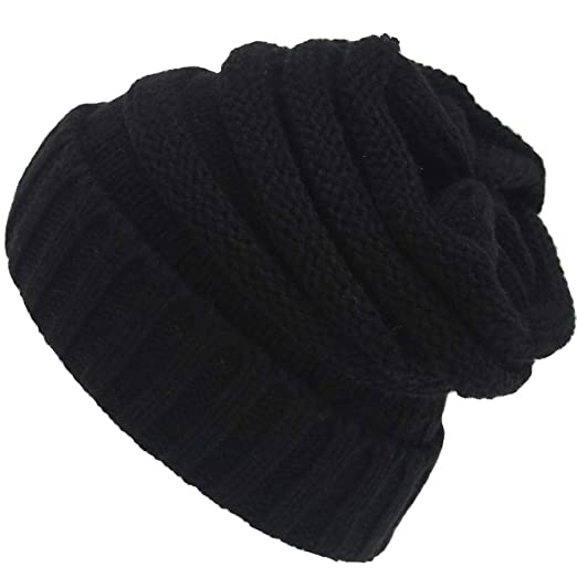 31ae2a9165e Preferhouse Cute Cable Knit Beanie Chunky Soft Warm Winter Hats for Women  Oversized Black