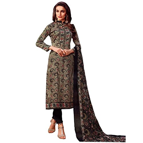 Ready Made Ethnic Beautiful Printed Cotton Salwar Kameez Suit – 0X Plus, Grey