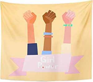 Emvency Tapestry Fist Black Empower Girl Power in Flat Style Feminism Symbol White Empowerment Female Home Decor Wall Hanging for Living Room Bedroom Dorm 50x60 Inches