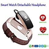 HANGANG Fitness Tracker Watch, Bluetooth 4.0 Heart Rate Monitor Bracelet,Touch Screen, Smart Wristband, Pedometer Sports Activity Tracker Smart Watch for Android and IOS Smartphone - Gold