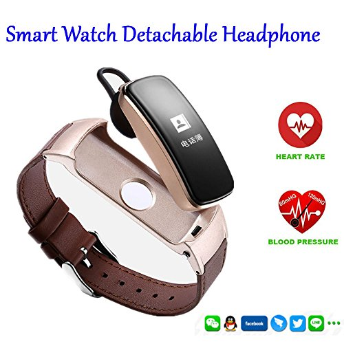 Hangang Intelligent Bluetooth handset LED intelligent smart watch callpedometer Bracelet Heart rate blood pressure monitoring wireless Bluetooth hands-free telephone for Android and Ios (Handsets Bluetooth Enabled)