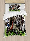 Ambesonne Africa Duvet Cover Set Twin Size, Digital Collage of Wild Animals with African Safari Animals Zoo Theme Print Artwork, Decorative 2 Piece Bedding Set with 1 Pillow Sham, Multicolor