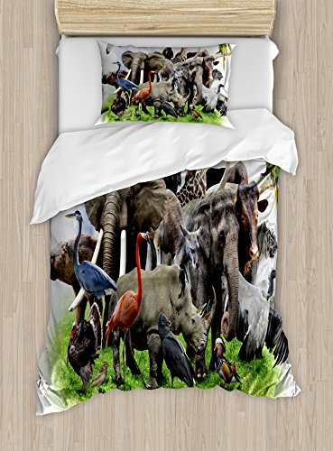 Ambesonne Africa Duvet Cover Set Twin Size, Digital Collage of Wild Animals with African Safari Animals Zoo Theme Print Artwork, Decorative 2 Piece Bedding Set with 1 Pillow Sham, (Wild Animals Sham)