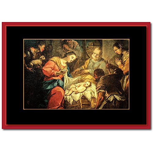 ZilloMart Religious Christmas Greeting Card H1508. A Painting of Christ in The Manger and a Verse of Peace and Hope of Christs Birth. 25 Cards with 26 Gold Foil Lined Envelopes.