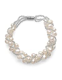 White Freshwater Weaved Pearl Bracelet, Magnetic Clasp