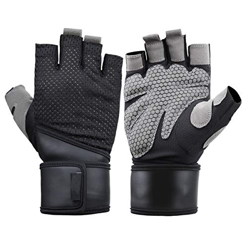 KANGBUKE Workout Gloves Weight Lifting Fitness Gloves Rowing Biking Training Gym Grip Gloves Full Palm Protection with Wrist Support for Fitness Exercise Weight Lifting Gym. (Large)