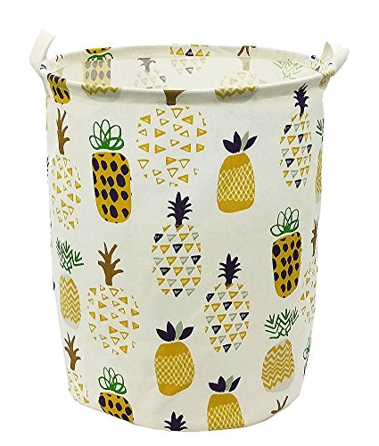 Songsongstore 19.7 Large Sized Waterproof Foldable Canvas Laundry Hamper Bucket with Handles for Storage Bin,Kids Room,Home Organizer,Nursery Storage,Baby Hamper with Pineapple Design(Yellow)