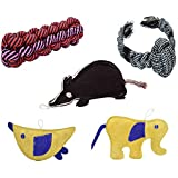 PetSutra Dog Toys Combo of 5 Toys for Small Sized Dogs (3 Leather & 2 Rope Toys) - (Colors May Vary) - Orbit Ball Tugger, Leather Rat Shaped, Bird Shaped, Elephant Shaped, Chewstick